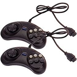 2x 6 Button Game Controller for Sega Genesis Black New