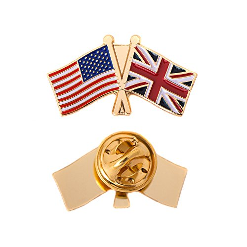 Double Lapel Pin - United Kingdom UK Country Double Flag Lapel Pin Enamel with United States USA US Souvenir Hat Men Women Patriotic Great Britain (Double Flag Pin)