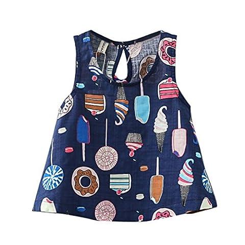 Vovotrade Summer Toddler Kids Baby Girls Princess Party Clothes Print Sleeveless Dress (2T, Navy) (7 Dots Studio)