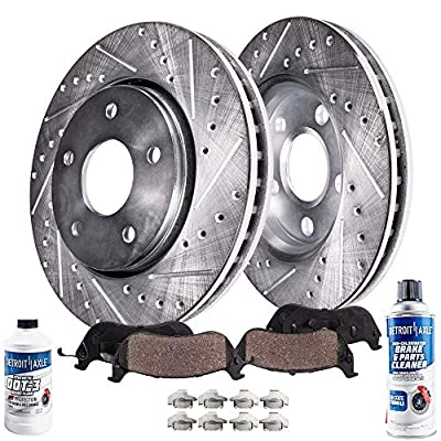 Detroit Axle - Front Drilled and Slotted Disc Brake Kit Rotors w/Ceramic Pads w/Hardware & Brake Kit Cleaner & Fluid for 04-06 Lexus RX330 - [07-09 RX350] - 06-08 RX400h - [06-07 Toyota Highlander]: Automotive