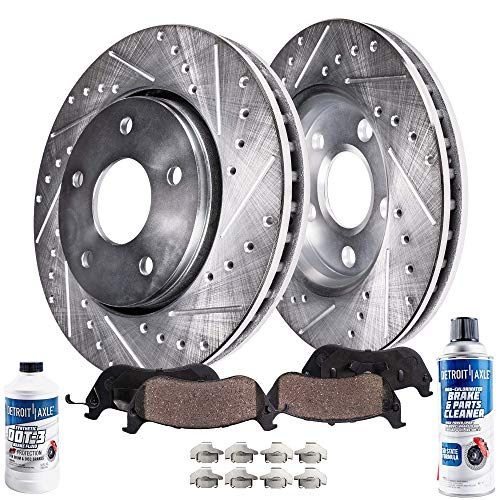 (Detroit Axle - Pair (2) Front Drilled and Slotted Disc Brake Rotors w/Ceramic Pads w/Hardware & Brake Cleaner & Fluid for 2003-2010 Chrysler PT Cruiser GT Turbo - [03-05 Dodge Neon SRT-4])