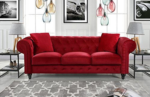 Divano Roma Furniture Classic Velvet Scroll Arm Tufted Button Chesterfield Sofa (Red) from Divano Roma