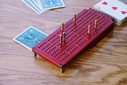 Camping Cribbage Board made of Durable Aluminum - 3 Track, Collapsible, holds your Deck of Cards (Board Cribbage Aluminum)