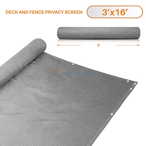 3' x 16' Gray/Grey Residential Commercial Privacy Deck Fence Screen 200 GSM Weather Resistant Outdoor Protection Fencing Net for Balcony Verandah Porch Patio Pool Backyard Rails (Blocks X Depot Home Patio 16 16)