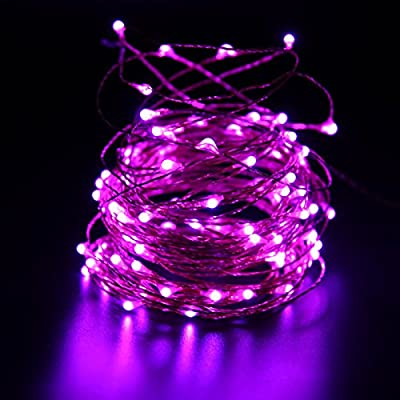 HDE Waterproof LED String Lights [Flexible Copper Wire] Indoor Outdoor Lighting Fairy Light Strand with Power Adapter - College Dorm Room Accessory (33 feet)