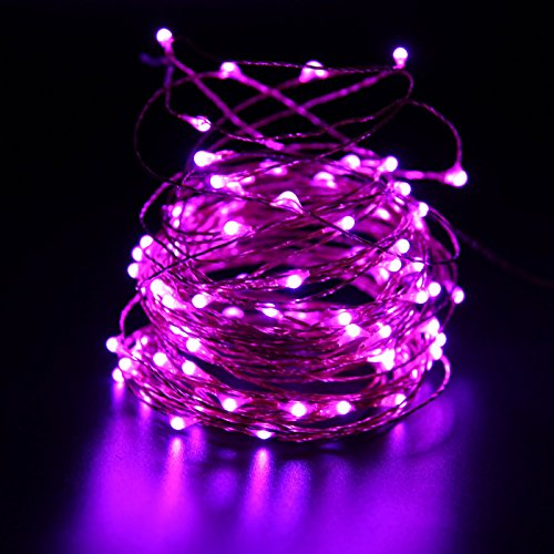 HDE Waterproof LED String Lights [Flexible Copper Wire] Indoor Outdoor Lighting Fairy Light Strand with Power Adapter - College Dorm Room Accessory (33 feet) - (Diy Halloween Dorm Decorations)