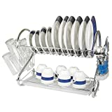 Gracelove Kitchen Dish Cup Drying Rack Drainer Dryer Tray 2 Tiers Cutlery Holder Organizer