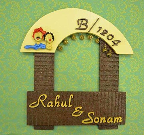 Karigaari India Wooden Rahul & Sonam Name Plate