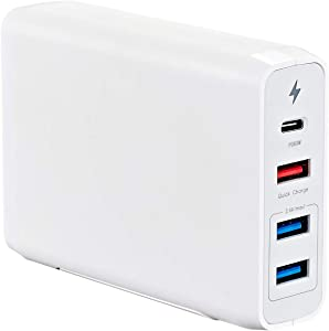 Runpower USB C Wall Charger,4-Port with 60W(USB C) & 18W(USB A) PD Ports and 2 USB A Ports(12W),for USB C Laptops, MacBook, iPad Pro, iPhone, Samsung, Pixel and More (White)