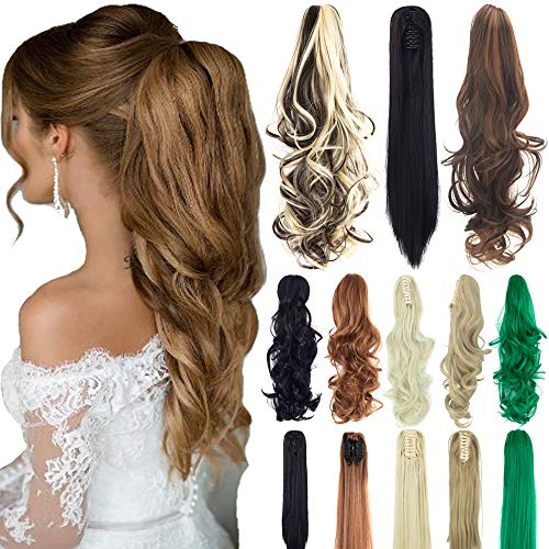 "18"" 21"" Straight Curly Synthetic Clip in Claw Ponytail Hair Extension Synthetic Hairpiece 150g with a jaw/Claw Clip"