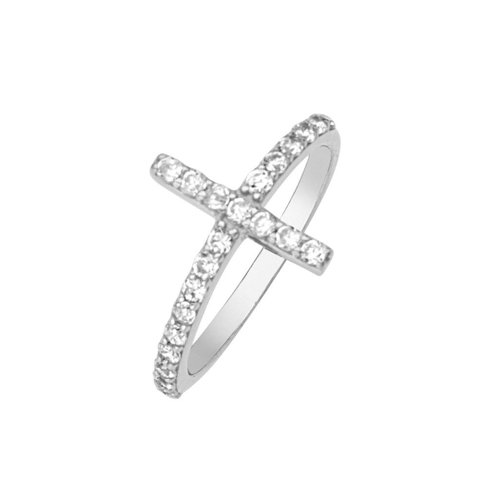Cross Ring, E2W Cubic Zircon Cross Ring