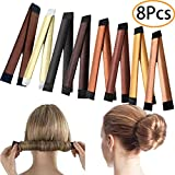 URSKYTOUS 8Pcs Easy Donut Hair Bun Maker Instant Hair Band Wrap French Twist Curler Shaper Ballet Hair Bun Headband Hairstyle Clip Rollers Tool for Girls Women