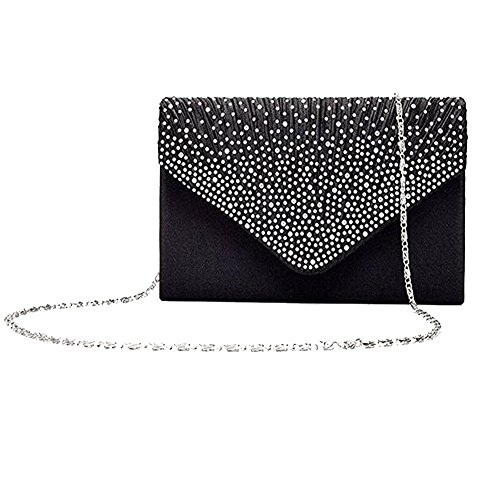 Black Satin Diamante Clutch Bag - 8