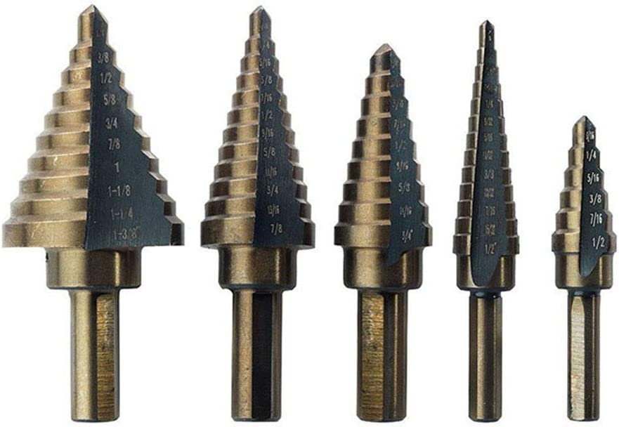 5pcs Large HSS Steel Step Cone Drill Titanium Bit Set Hole Cutter with Boxed