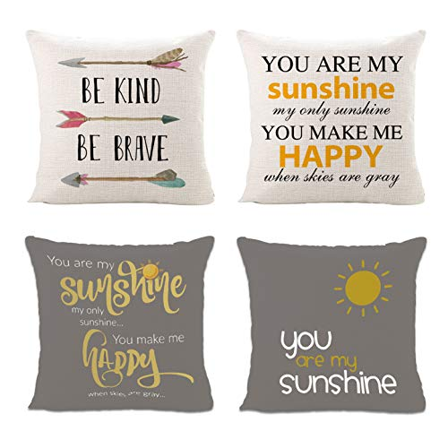 Sinpooo Throw Pillow Covers for Home Sofa Bedding Couch,Square Flax Decorative Cushion Cover with Invisible Zipper 18 x 18 Inch Set of 4 (Best Outdoor Cushions 2019)