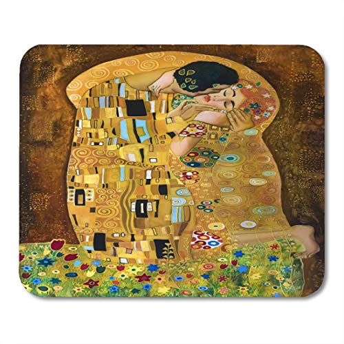 Emvency Mouse Pads Brown Kiss Klimt Inspired Abstract Batik Painting Grounds of Gustav Purple Modern Mousepad 9.5