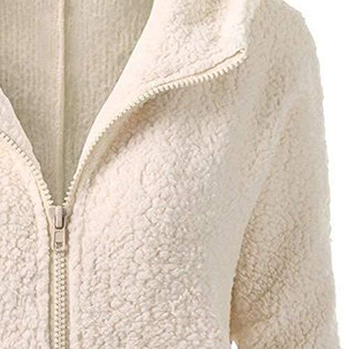 Outwear Cálido Mujeres Parka Abrigo Suéter Para Escudo Cremallera Casual Mujer Capucha Algodón Con Suelto Beige Invierno Abrigos De Chaqueta 0f6FtPwqxx