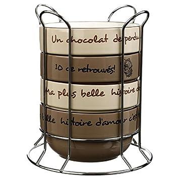 Derri/ère La Porte DLP Rack de 4 Bols /à D/éjeuner Caf/é Soupe C/ér/éales Cuisine Matin Calme