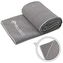 PROCIRCLE® Yoga Towel with 4 Corner Pockets - 61cm x 183cm - Microfiber Hot Yoga Towel, Bikram Yoga Towel, Ashtanga Yoga Towel - Super Absorbent, Non Slip, Machine Washable, Fast Drying - Free Carry Case