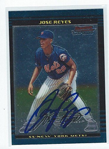 Jose Reyes Signed 2002 Bowman Chrome Card #124 - Baseball Slabbed Autographed Cards