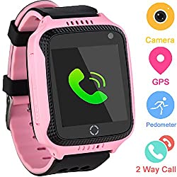 Kids GPS Tracker Watch for Boys Girls - Smart Wrist Watch with GPS Location SOS Alarm Clock Digital Watch Camera Flashlight Games for Children Compatible with iPhone/Android (02 GM11 Pink)