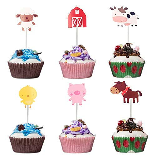 24 Pcs Animal Farm Cupcake Topper, Cute Zoo Animal Cake Toppers for Kids Baby Shower Birthday Party Cake Decoration Supplies]()