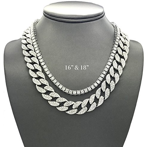 Shiny Jewelers USA Mens Iced Out Hip Hop Silver Tone CZ Miami Cuban Link Chain Choker Necklace 2