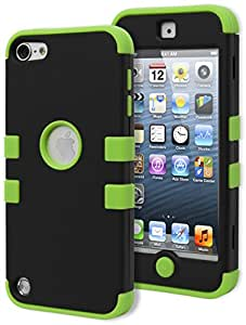 iPod Touch 5 Case, Bastex Heavy Duty Durable Protective Tuff Case - Neon Green Soft Silicone Cover with Black Hard Shell Case for Apple iPod Touch 5