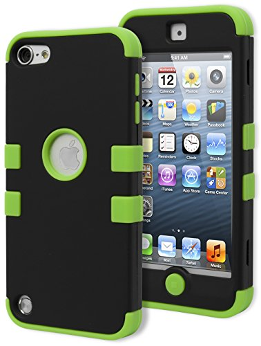 iPod Touch 5 & 6 Case, Bastex Heavy Duty Durable Protective Tuff Case - Neon Green Soft Silicone Cover with Black Hard Shell Case for Apple iPod Touch 5 & 6 [Compatible with iPod Touch 6]