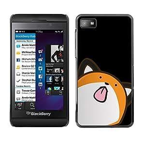 Qstar Arte & diseño plástico duro Fundas Cover Cubre Hard Case Cover para Blackberry Z10 ( Cat Animation Drawing Art Licking Tongue)