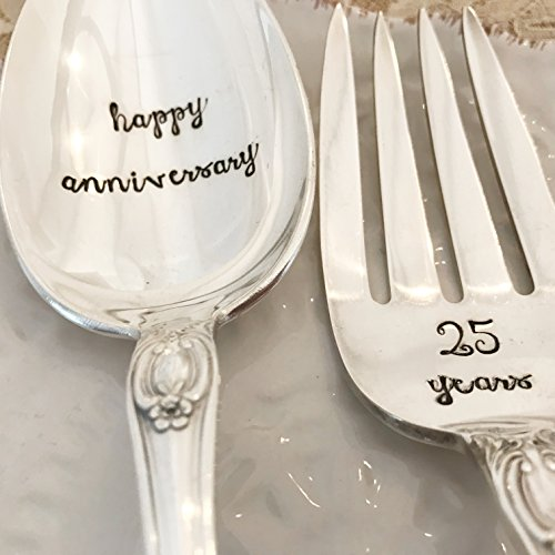 Set of two: happy anniversary, 25 years, serving spoon and fork set