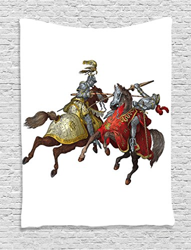 [Medieval Decor Tapestry by Ambesonne, Middle Age Fighters Knights With Ancient Costume Renaissance Period Illustration Artwork, Bedroom Living Room Dorm Decor, 40Wx60L Inches,] (L Themed Costumes)