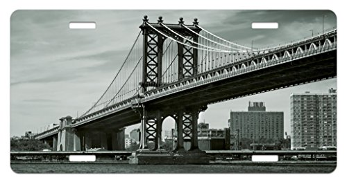Ambesonne New York License Plate, Bridge of NYC Vintage East Hudson River Image USA Travel Top Place City Photo Art Print, High Gloss Aluminum Novelty Plate, 5.88 L X 11.88 W Inches, Grey