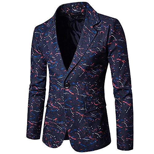 Smoking Tuta in il libero Giacca cotone giacca giovane Stampa Dunkelblau da uomo manica lunga con per tempo sciolto 7wx6prq7