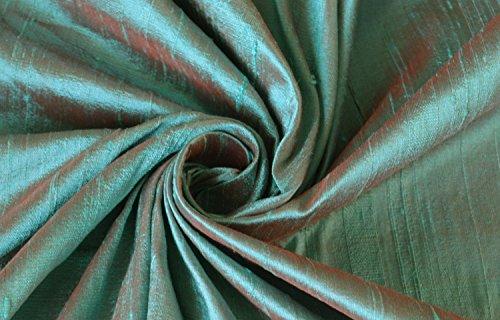 Robin's egg blue red orange bridal wedding 100% dupioni silk fabric yardage By the Yard 45