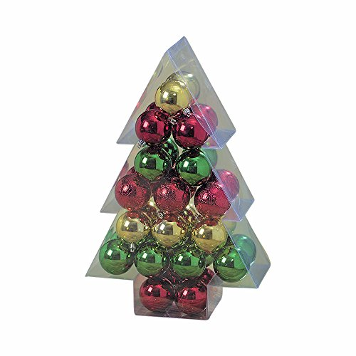 The Holiday Home Multi-Color Ball Ornament Collection, Variety Pack of 34, Christmas Decorations, 2 1/4 Inches Diameter, Hanger Top, Shatter-Proof Plastic, By Whole House (Christmas Green Ball Ornament)