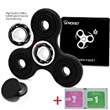SENQIAO Tri Fidget Hand EDC Finger Spinner Toy Stress Reducer with Premier Ceramic bearing For ADD, ADHD, Anxiety, and Autism Adult Children (Black)