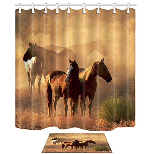 (NYMB Wild Safari Animal Decor, Western Farm Animals Horses Stand on The Prairie 69X70in Polyester Fabric American Country Shower Curtain Suit with 15.7x23.6in Flannel Non-Slip Floor Doormat Bath Rugs)
