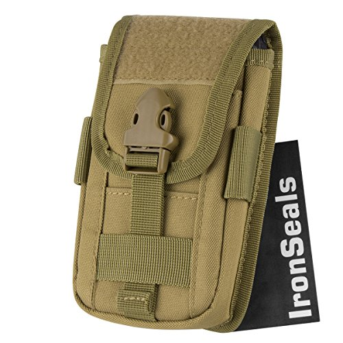 IronSeals Tactical Molle Pouch Compact EDC Utility Gadget Waist Bag Pack with Cell Phone Holster and Card Slots for 4
