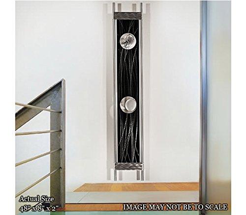 Statements2000 Black & Silver Metal Pendulum Wall Clock - Functional Art - Modern Contemporary Functional 3D Metal Wall Art Sculpture - Silver Reeds Clock by Jon Allen - 48