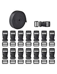 Hotusi 15 Set Black Plastic 1 Inch Flat Side Release Buckles and Tri-Glide Slides with 1 Roll 1Inch Wide 11 Yards Nylon Webbing Straps for DIY Making Luggage Strap Pet Collar Backpack Repairing