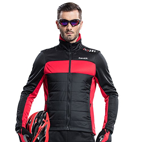 Santic Men's Cycling Jacket Thermal Long Jersey Windproof Winter Coat 2X-Large Red (Cycling Jersey Winter compare prices)