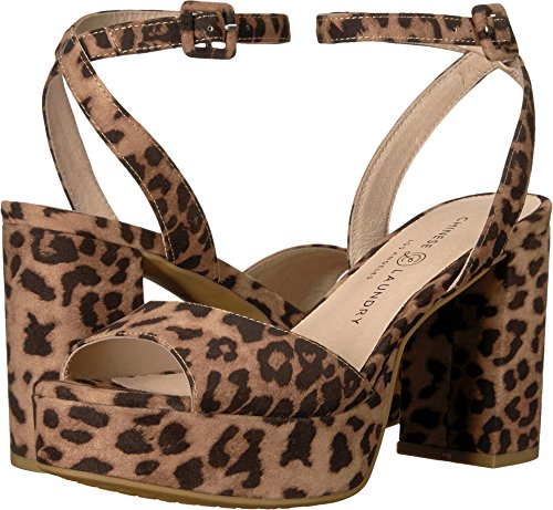 Kinesisk Tvätt Kvinnor Theresa Klack Sandal Naturliga Leopard