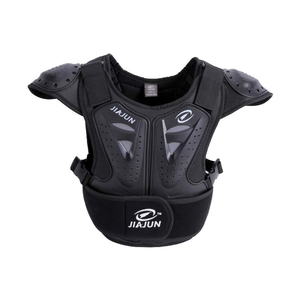 Children's Sports Protective Vest high Strength PE Sports Protective Equipment (Black, M)