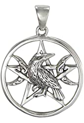 Sterling Silver Raven Triple Moon Wiccan Pentacle Pendant Jewelry