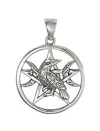 Sterling Silver Raven Moon Pentacle Pendant