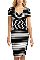 Mmondschein Women Short Sleeve Striped Wear to Work Business Pencil Dress