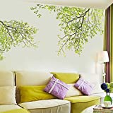 DIY Wall Sticker by Naladoo, New Nature Green Leaves Sticker Mural Removable Home Room Decor Shop Office Wall Glass Decals Decoration