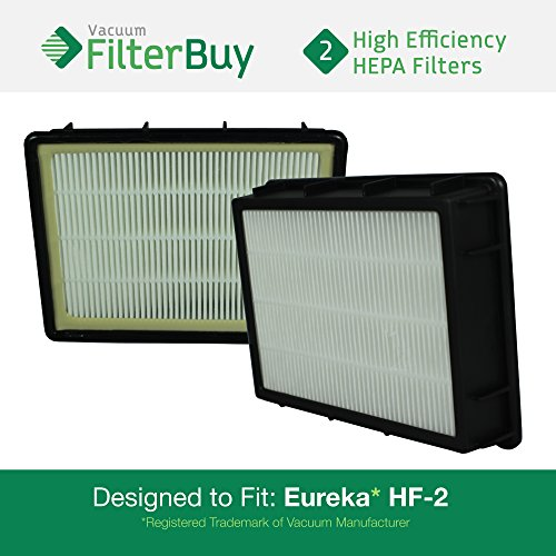 - 2 - Eureka HF-2 (HF2) HEPA Replacement Filters, Part # 61111, 61111A, 61111B. Designed by FilterBuy to fit Eureka Ultra SmartVac Upright Vacuum Cleaner
