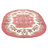 Wool Oval Area Rug Pink Rose Hooked 4′ x 6′ | Renovator's Supply